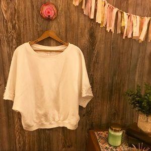 {postmark} white pearl embellished sweatshirt s
